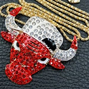 Red bull necklace gold tone brooch pendent bling